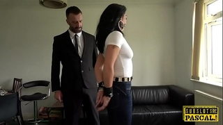 Handcuffed uk milf edged whilst cockriding taskmaster