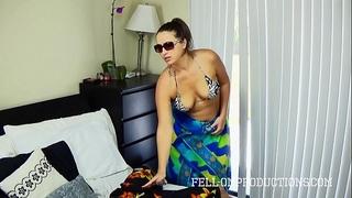Hot milf with large gazoo copulates in strap bikini